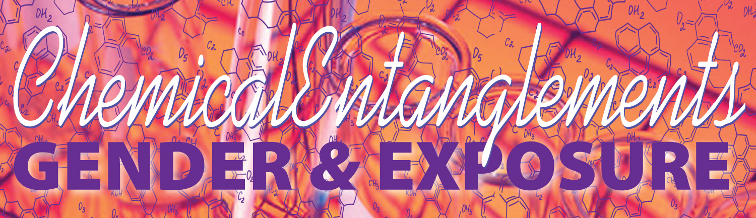 "Graphic that says ""Chemical Entanglements"" and ""GENDER & EXPOSURE"""