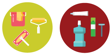 Two graphics; one with cleaning equipment, and the other with grooming items, i.e. toothpaste, mouthwash, and razor.