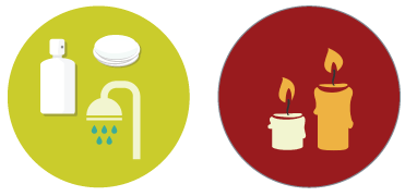 Two graphics; one with a shower head and water with soaps, and the other with two lit candles.