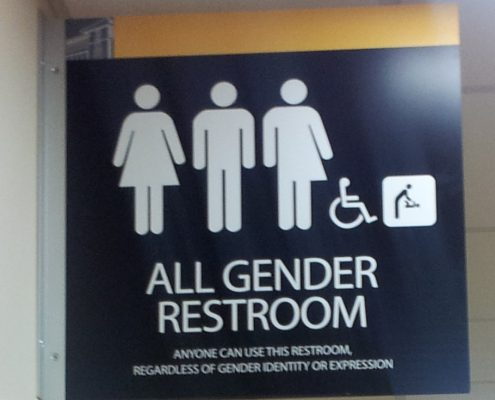 """A sign with pictograms representing a variety of gender identities, with the text """"all gender restroom: anyone can use this restroom regardless of gender identity or expression."""""""