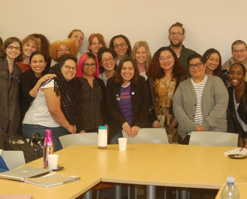 UCLA graduate students with Dr. Sara Ahmed (purple shirt, center) following a seminar which Ahmed led at UCLA on February 13, 2018.