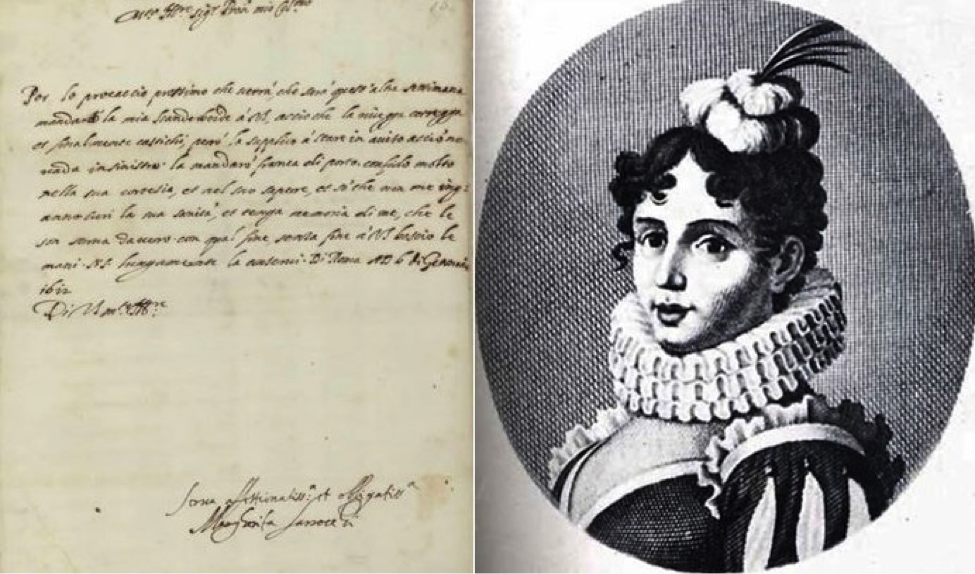 Two images: a handwritten letter in Italian from Margherita Sarrocchi to Galileo Galilei, and a black and white illustrated portrait of Margherita Sarrocchi wearing a ruffled collar and feathered hat.