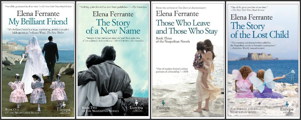 The covers of the four novels in Elena Ferrante's Neapolitan Quartet