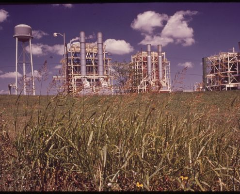 An image of pipes and smokestacks stretching up into a blue sky from a large field of grass.
