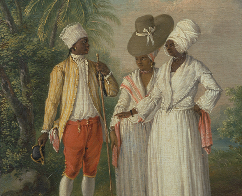 A painting depicting two Carib women wearing long white dresses with lace trim, in conversation with a Carib man wearing red trousers and a yellow jacket. There are palm trees in the background.