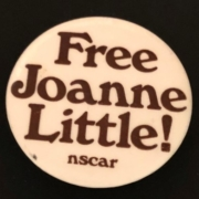 """Photo of the """"Free Joanne Little"""" button made by the National Student Coalition Against Racism"""