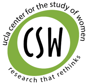 """""""CSW"""" within a green oval and the oval encircled by """"ucla center for the study of women, research that rethinks"""""""