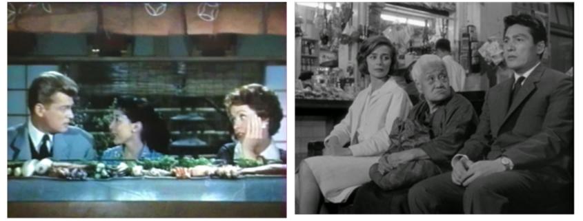 Stills from the movies Typhoon over Nagasaki (1957) and Hiroshima mon amour (1959)