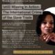 """Flyer for the """"(still) Missing in Action: The International Crime of the Slave Trade"""" webinar featuring Patricia Sellers, the woman pictured on the right"""