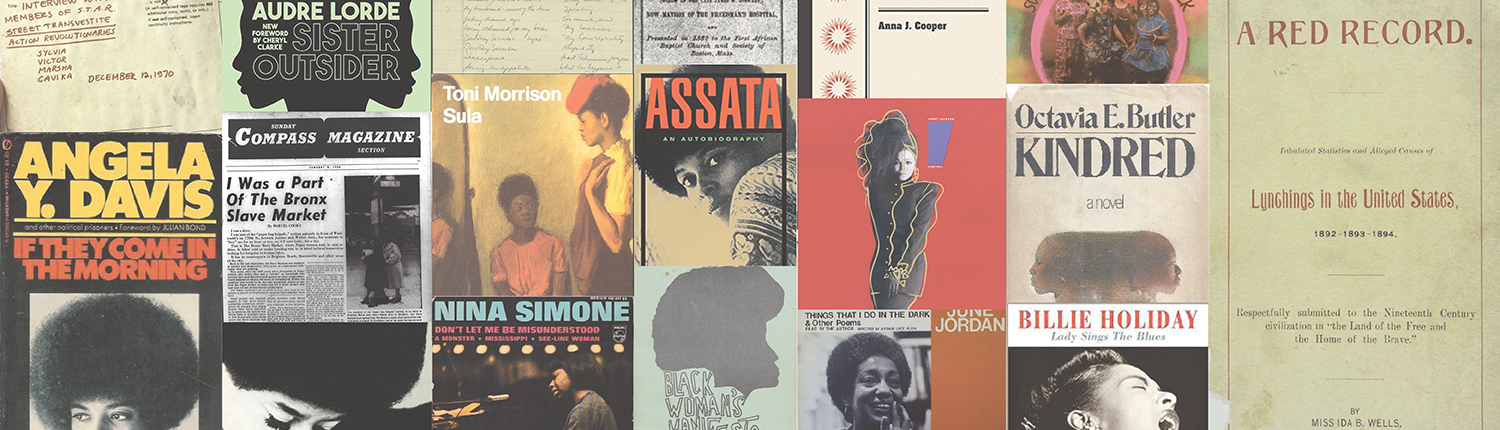 Collage with various covers of books and albums with Black artistes.