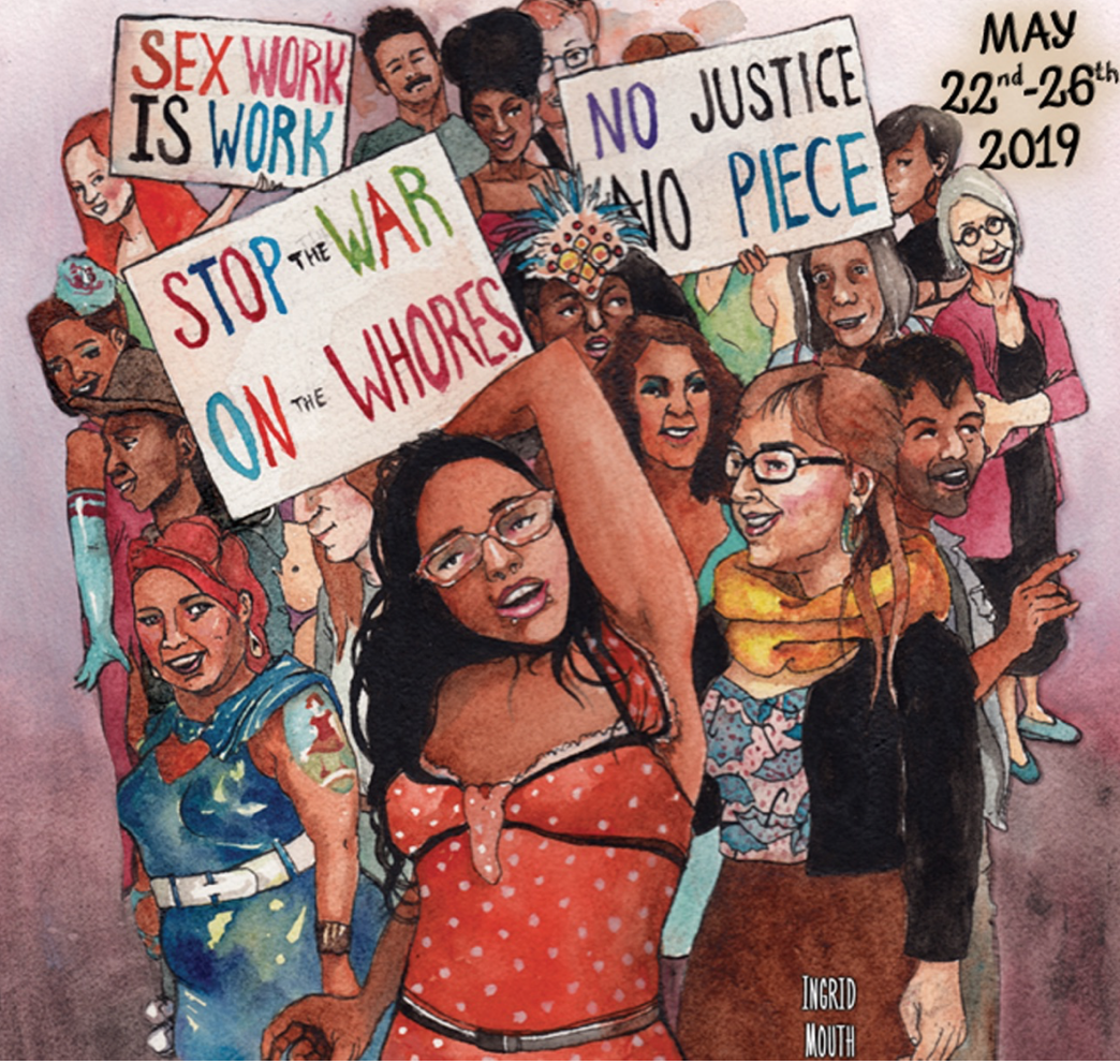 """Sex Worker Film and Arts Festival Poster Image illustrating sseveral people holding signs saying """"stop the war on whores"""" and """"sex work is work"""""""
