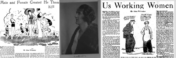 Newspaper clippings with a photo of Alma Whitaker and different illustrations.