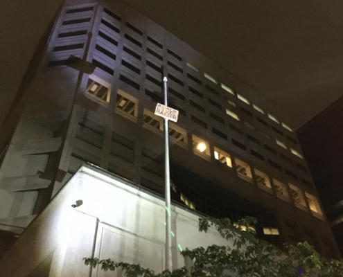 A Black Lives Matter sign was hoisted up the flagpole at the Justice Center