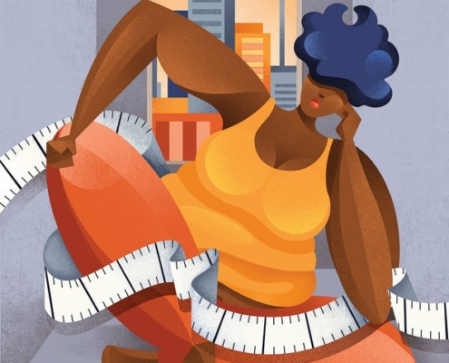 Illustration by Chiara Vercesi of a large Black woman sitting in a thoughtful position as a measuring tape curls around her