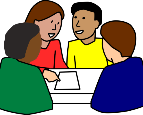 Cartoon with 4 people at a table talking.
